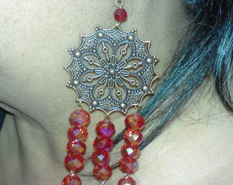 red hot earrings w/red roundels