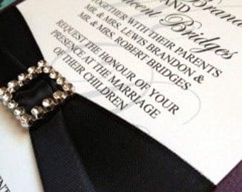 Elegant Eggplant Wedding Invitation-Sample
