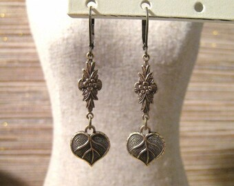 Victorian Art Nouveau Style Brass Stamped Ornate Roses and Leaves Lever Back Earrings