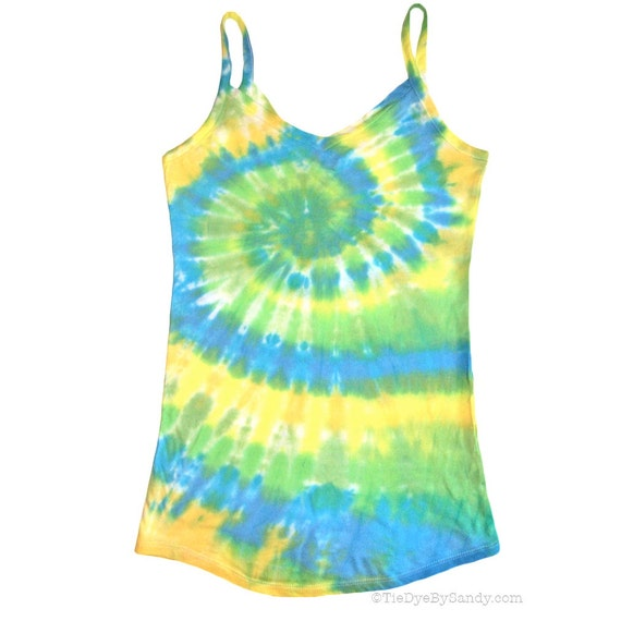CLEARANCE: Juniors Small Pastel Blue Green Spiral Tie Dye Tank Top