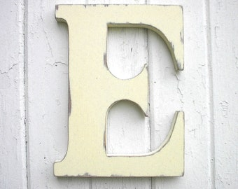 Wooden Letters Initial E 12 inch Antique White Kids Wall Decor Rustic Cabin Country Cottage Dorm Decor
