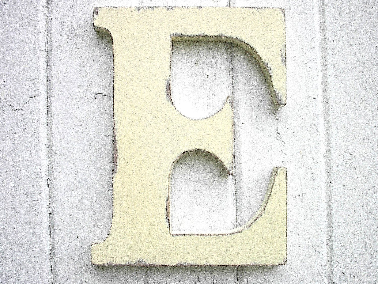 Wooden letters initial e 12 inch antique white kids wall decor - Wood letter wall decor ...