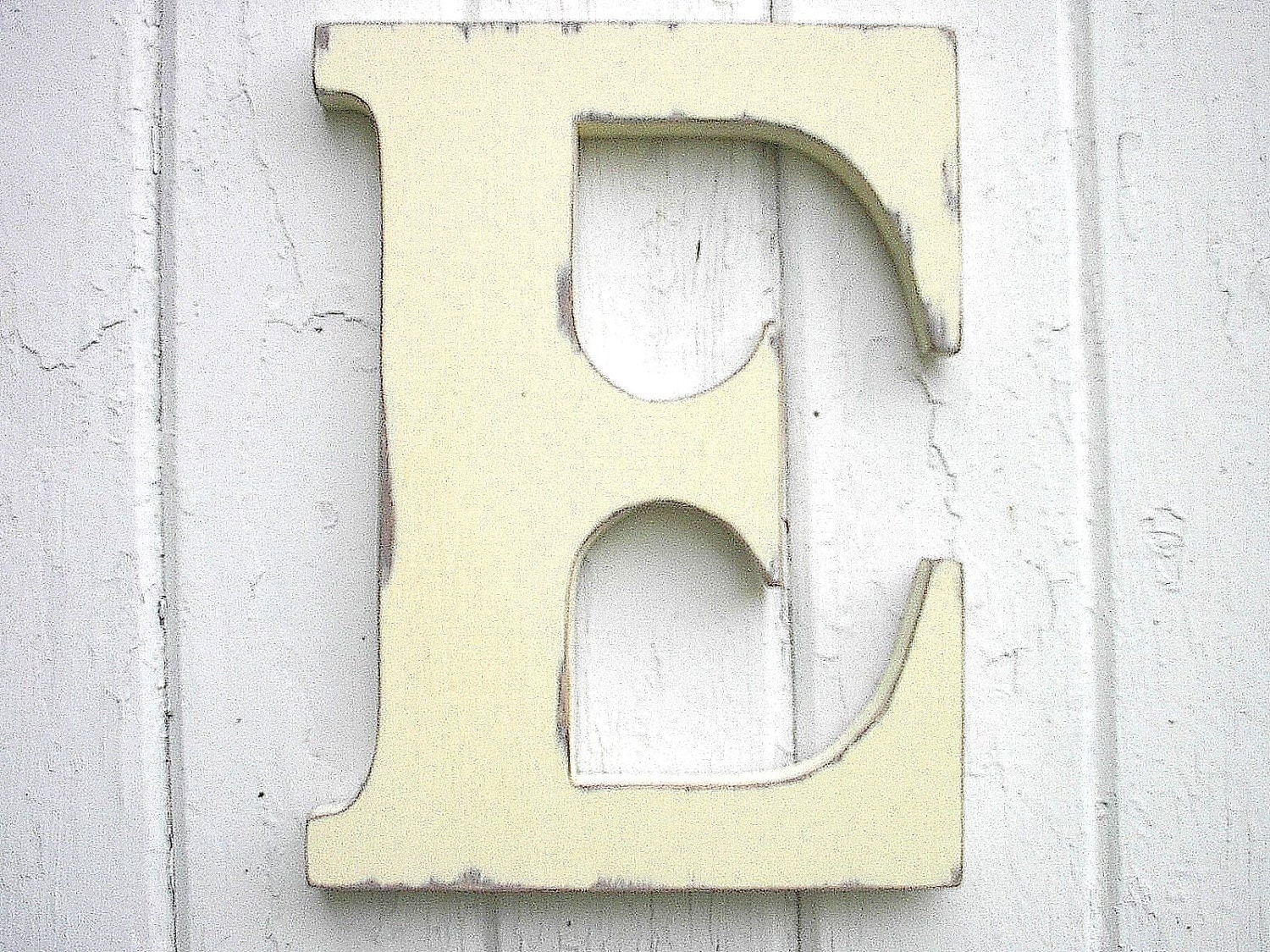 Wooden Letters Initial E 12 Inch Antique White Kids Wall Decor