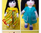 Heirloom quality, handmade, OOAK cloth doll, 8 pair of SHOES with matching outfits, closet/chest