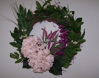 Huge pink hydrangeas with purple wisteria and pussywillow accents