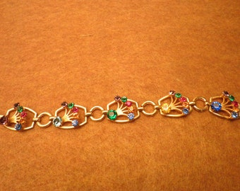 Vintage Gold/Vermeil over Sterling Unsigned Costume Bracelet with pronged Mulit-Colored Rhinestones