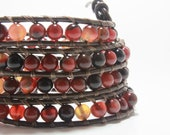 Wrap Bracelet Earthy Multi-colored Stone, Beaded Wrap Bracelet, Leather Bracelet