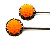 Flower Hairpins - Orange Chrysanthemum Flowers - Wedding and Everyday Wear - Bridesmaid Jewelry - Set of 2 Bobby Pins - Gift Bag Included