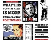 Funny geeky political sticker sheet : censorship, Obama, politics. Free with every allriot order