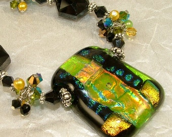 MAJOR MARKDOWN - Dramatic Olive and Gold Wire Wrapped Bundles on a Beaded Dichroic Fused Glass Necklace