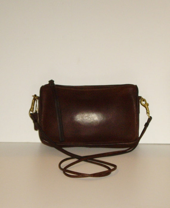 COACH New York City Made Convertible Clutch Bag, Vintage Mahogany Brown Leather Shoulder Purse