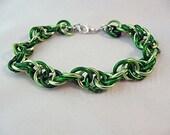 SALE T-Virus green spiral chainmail bracelet