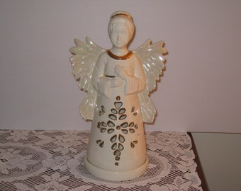 "Christmas Ceramic Angel hand paint by Joan Davis 13"" tall, has fired on  gold trim"