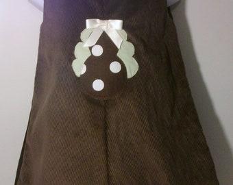 Girls Brown Corduroy Aline dress/Thanksgiving corduroy dress Size