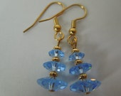 Blue Sapphire Swarovski Crystal Marguerite 3 Tier Earrings on Gold Plated Surgical Steel earwires