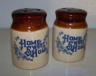 Home Sweet Home Salt Pepper Shakers Rustic Salt and Pepper Shakers Vintage Pottery
