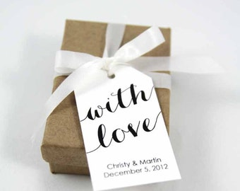 With Love Tag - Wedding Favor Ideas - Wedding Favor Tags - Custom Tags - Bridal Shower Tags - Personalized Tags - SMALL