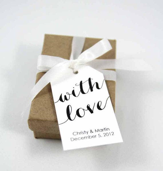 With Love Tag - MEDIUM Size - Wedding Favor Tag - Shower - Baptism - Christening - Custom Tag - 36 Pieces
