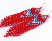 Native American Beaded Earrings Inspired. White Blue Red Earrings. Long Dangle Earrings. Beadwork.
