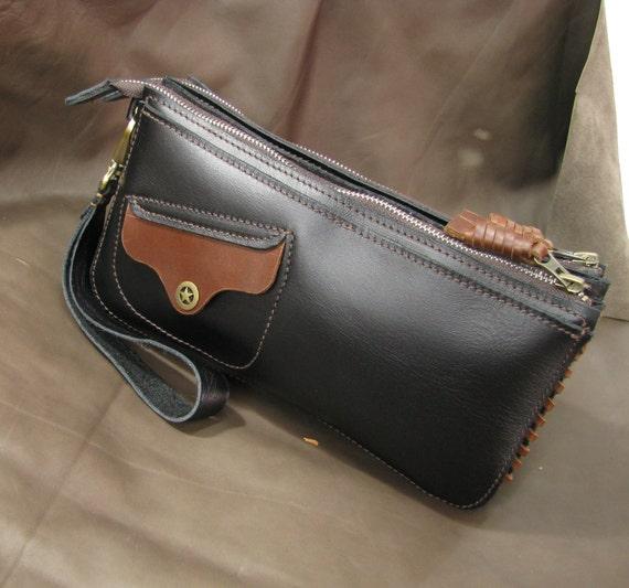Father's Day Gift - Gift for Dad - Husband Gift--Handmade genuine leather handbag-Wristlet bag-Clutch bag
