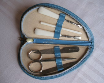 Blue Leather Heart Shaped Manicure Kit Germany