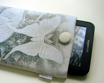 Kindle Keyboard cover, Paperwhite case, 7 in tablet sleeve, grey butterflies, tablet travel pouch, Kobo cover, Nexus 7 case, padded sleeve
