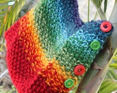 Seed Stitch Rainbow Knit Cowl with Buttons