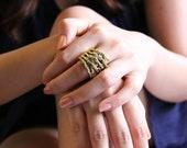 Hands Skeleton Golden Ring
