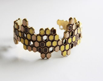 Honeycomb Bracelet / Bangle - Geometric cuff - brass metal with enamel