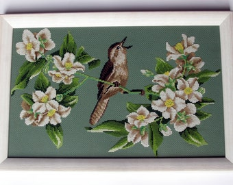 SALE! Cross Stitch Picture, Bird on a Branch, Woodland Style, Asian Style, Floral Art, Handmade Cross Stitch, Home Decor, Spring Art