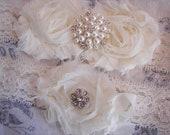 Wedding Garter Set , Bridal Garter, Ivory Garter, Vintage Inspired  Garter, Toss Garter included
