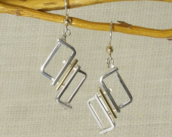 Geometric Modern Earrings Sterling Silver and Bronze with 14 kt Gold Bead