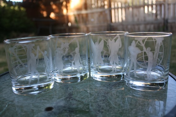11.2 oz Hand etched Venture Brothers rock glasses - Set of four glasses
