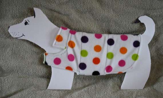 Dots, Dots, Dots Fleece Dog Coat size x-small (7-10 lbs.) with cotton flannel lining. Cozy, Warm, Cute..