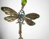 HANDCRAFTED hanging Metal DRAGONFLY and COW Bell windchime with Green glass beads