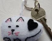 Handmade Black & White Cat Bag Charm - Keyring - Accessories