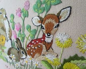 ON SALE 1970s Crewel Finished and Framed, Adorable Woodland Animals