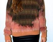 Unisex 100% Cotton Bleach Dip-Dye Ombre Sweater in Orange and Green Plaid
