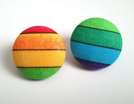 Colorful rainbow button post earrings
