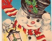 Gorgeous Vintage Greetings Card. Fantastically Festive Snowman...