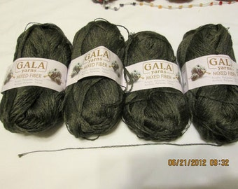 4 Gala Mixed Fiber Yarn - dark olive green fingering - feels soft & silky, like cotton