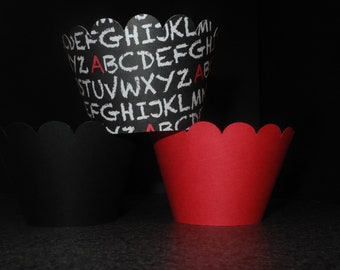 School Alphabet Cupcake Wrappers- Set of 12 Back to School.