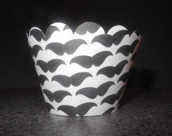 Stache Mustache Cupcake Wrappers. Set of 12