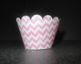 Pink Chevron Cupcake Wrappers. Set of 12 Pink Stripes