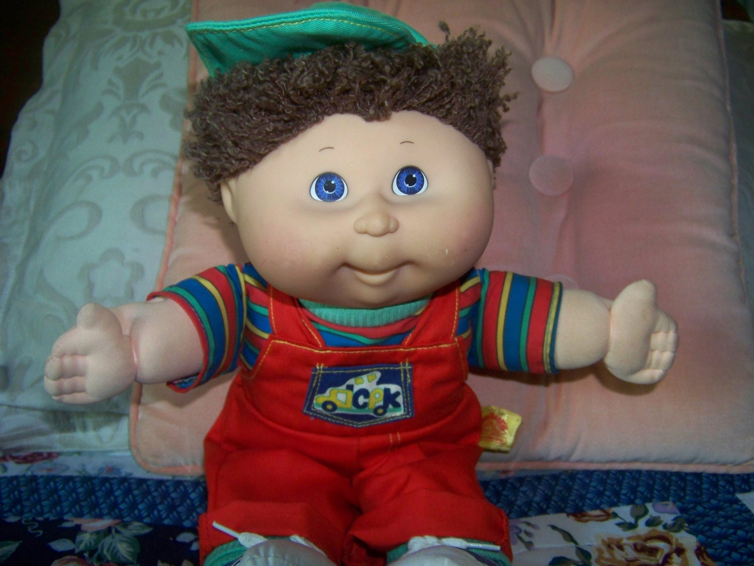Cabbage Patch Boy Doll Baseball Cap And Overalls Vintage