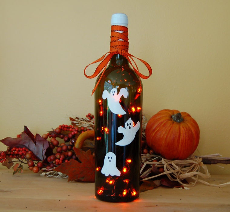 Wine Bottle Light Halloween Decoration Ghost White Orange