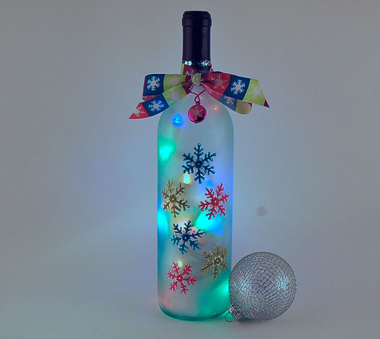 Wine Bottle Light Snowflakes Turquoise Lime Green Pink