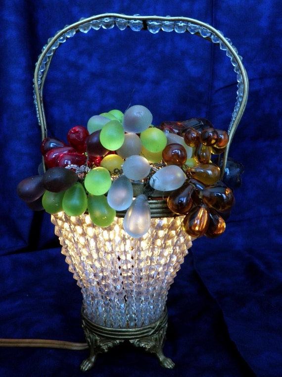 Art Nouveau Czech Glass Fruit Basket Lamp With Strung Crystal