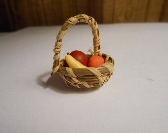 Dollhouse miniature basket with handle and fruit
