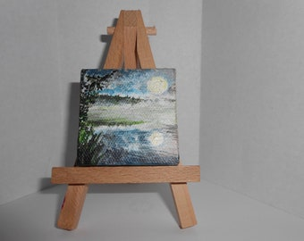 Miniature Moonlit Landscape Painting